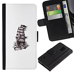 For Samsung Galaxy S5 V SM-G900 Case , Ship Pirates Ink White Black Clean - la tarjeta de Crédito Slots PU Funda de cuero Monedero caso cubierta de piel