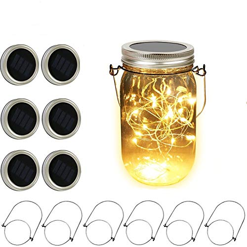 Weepong Solar Mason Jar Lid Lights 6 Pack 20 LED Fairy String Firefly Lights Battery/Solar Powered Lantern Hanging Lights for Patio Garden Yard Table Tree Decor (6 Hangers Included, Jars Not Included)