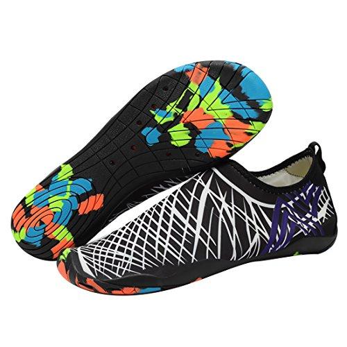 Mesitelin Männer Frauen Quick Dry Water Shoes Leichte Beach Aqua Schuhe mit Drainage Löcher Schwarz-Weiss