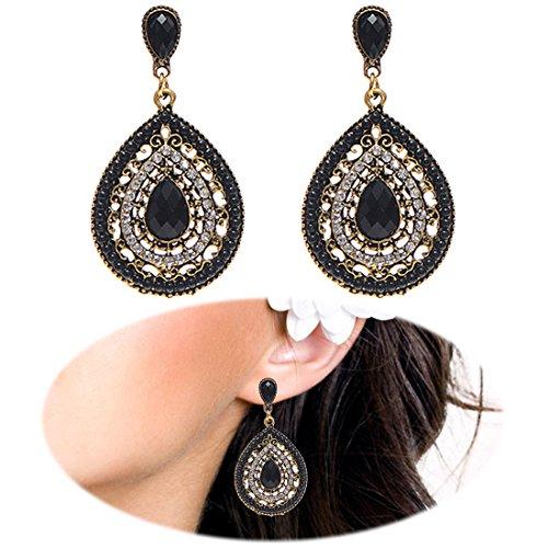 Boho Beaded Drop Earrings Heart Teardrop Dangle Crystal Gemstone Bohemia Women Retro Cute Pierced Jewelry Black]()