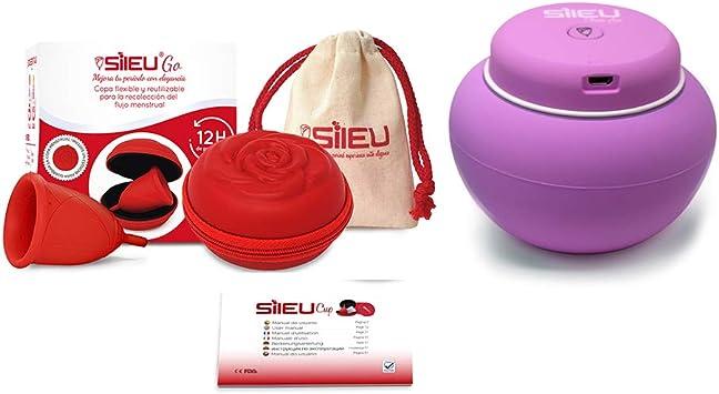 Sileu Travel Plus - Copa menstrual Sileu Rose, Talla S, Rojo, Flexibilidad Standard + Estuche en forma de flor Rojo, 8 cm + Esterilizador eléctrico recargable USB para copas menstruales, Morado: Amazon.es: