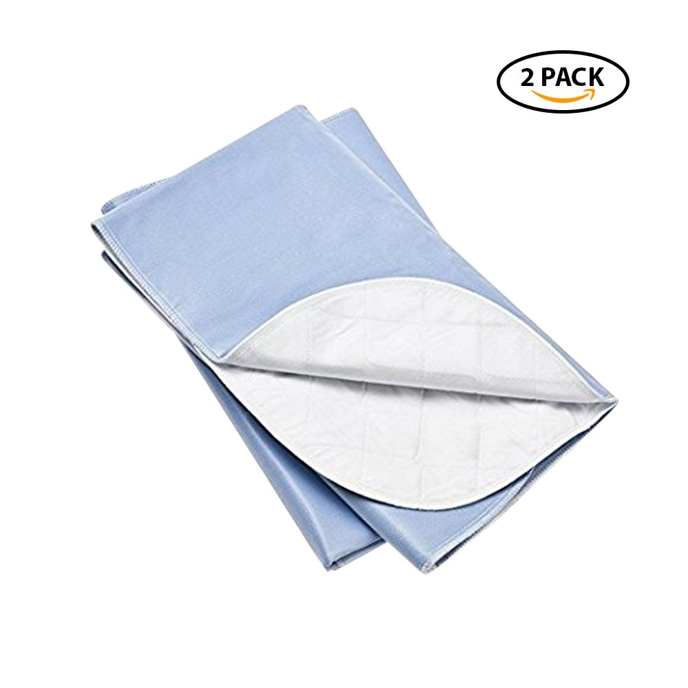 Platinum Care PadsTM Washable Large Standard Reusable Bed Pads/Hospital Underpads, for use with Incontinence and Pets Size 34x36 in, Pack of 2 (Blue)