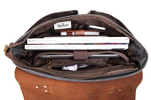 DoubleMay Herren Vintage Canvas Leder Aktentasche Messenger Bag Umhängetasche ideal für Studium Büro oder Freizeit Outdoor 42 x 10 x 33 cm (Khaki-Größer) Grün