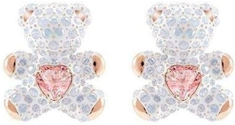 Wbeiba-Pendientes de mujer-Pendientes de piedras preciosas-Diamante lleno lindo corazón latiendo pendientes de oso de cristal rosa