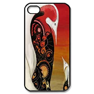 Penguin Painting Floral Pattern For Apple Iphone 4/4S Case Cover For Teen Girls , For Apple Iphone 4/4S Case Cover [Black]