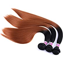 "Silky Straight Hair Extensions Synthetic Hair Weave 3 Bundles Two Tone Ombre Color T1/30 (16"" 18"" 20"")"
