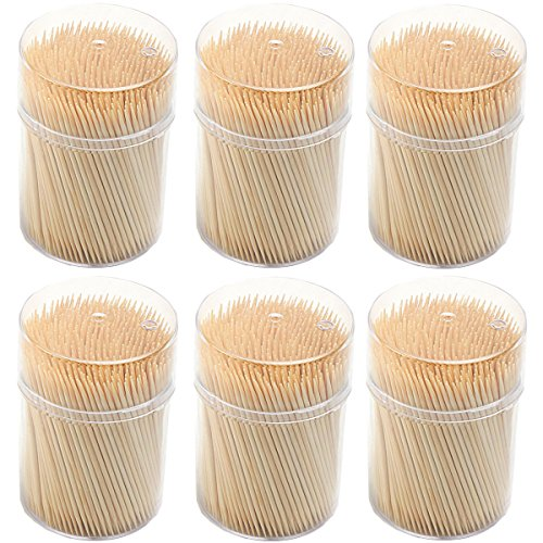 Toothpick Holder Star (Natural Wooden Toothpicks 3000 Count - Long Strong Round Splinter-Free Bamboo Wood for Quick and Easy Tooth Cleaning | 6 Dispensers/500 pcs Each)
