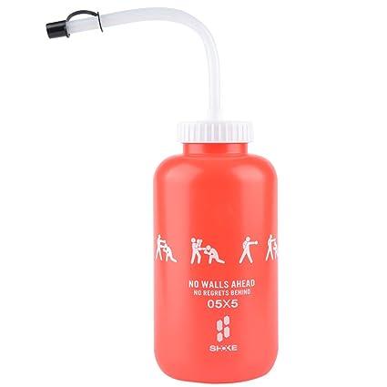 744b30ded6 SHOKE Lacrosse Water Bottle with Long Straw BPA Free Plastic Goalie Boxing Water  Bottles 32 Oz 1 Liter for Sport Black/Red Perfect for Hockey Football …