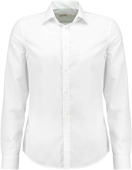 Pier One Camisa de Hombre de Manga Larga Fina en Blanco, Talla L: Amazon.es: Ropa y accesorios