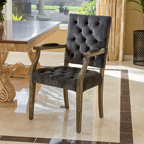 Great Deal Furniture 296552 Myrtle Velvet Charcoal Arm Dining Chair,