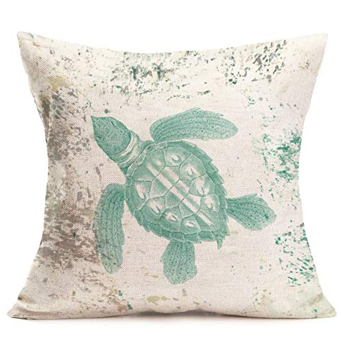 (Royalours Sea Turtle Decorative Pillow Covers Vintage Ocean Animal Throw Pillow Cover Home Decor Cotton Linen Square Cushion Cover for Couch Bed Sofa 18 x 18 Inches (Sea Turtle))