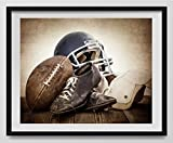 Vintage Football Gear on Vintage Background Fine Art Photography Print, Sports Decor, Football Nursery decor, Vintage Sports Nursery Art, Football artwork, Kids Room Wall Art.