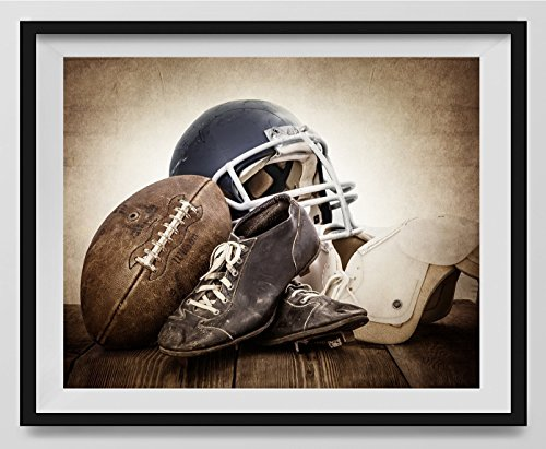 Vintage Football Gear on Vintage Background Fine Art Photography Print, Sports Decor, Football Nursery decor, Vintage Sports Nursery Art, Football artwork, Kids Room Wall Art. by Saint and Sailor Studios