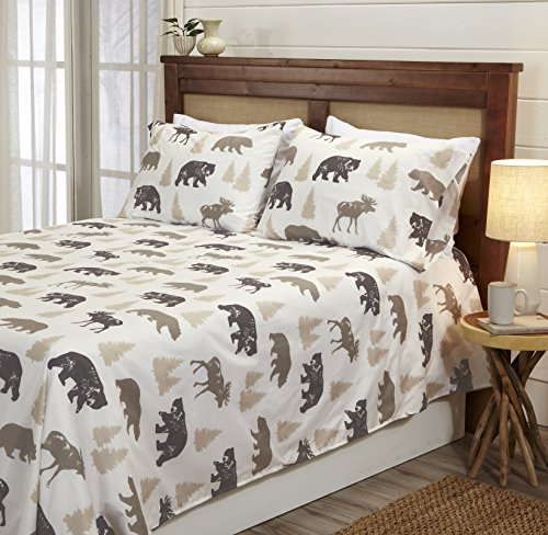 Great Bay Home 4-Piece Lodge Printed Ultra-Soft Microfiber Sheet Set. Beautiful Patterns Drawn from Nature, Comfortable… - LODGE PRINTED PATTERNS: Choose from a variety of beautiful, fade-resistant patterns drawn from the life of the American forest.. Each set comes with 1 fitted sheet, 1 flat sheet and 2 pillowcases (1 for Twin size). HOTEL/SPA QUALITY: These affordable microfiber sheets feel silky smooth against your skin. They're made from 90 GSM material that keeps you cool in the summer and toasty warm in winter. This 100% polyester fabric is WARM, SOFT, FLEXIBLE, and BREATHABLE for maximum sleep comfort. PERFECT FIT EVERY TIME: These DEEP POCKET sheets fit mattresses up to 17 inches deep, with a fully elasticized fitted sheet. They're available in Twin, Full, Queen and King sizes to fit any bed. See below for exact measurements. - sheet-sets, bedroom-sheets-comforters, bedroom - 51NIwppJXKL -