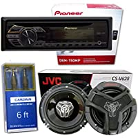 Pioneer DEH-150MP Single DIN Car Stereo With MP3 Playback + CS-V628 6.5 2-Way Speakers (1 PAIR) + FREE Mini-to-Mini AUX Cable** …