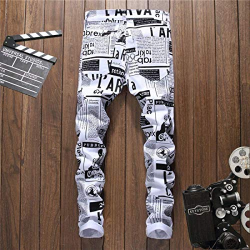 Cintura Carta Fit Pants Blanco Jeans Chicos Recta De Mediados Clásico Stretch De Casuales Jeans Hombres Pantalones Jeans Impresión La Slim Painting UXI6gq