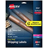 Avery Glossy Crystal Clear Address Labels for Laser & Inkjet Printers, 2'' x 4'', 100 Labels (6522)