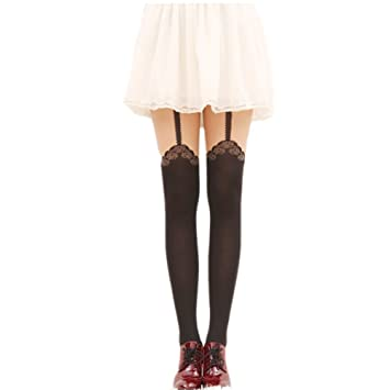 5ac2fbd9233 Amazon.com  Piggy2gether 3Pieces Black Rose Lace Tights Pantyhose Stockings  Fashion Leggings  Beauty