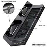YOUSHARES PS4 Pro Vertical Stand with Dual Cooling Fan, Dual Controller Charging Station, 3 Extra USB Port for Playstation 4 Console and PS4 DualShock 4 Controllers + FREE 8 Controller Grip Cover Caps