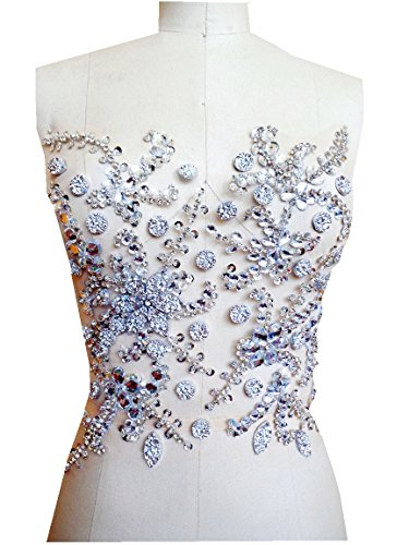 Handmade crystal patches sew on silver Rhinestones applique with stones sequins beads 31X27cm for dress