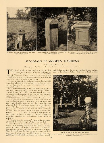 1906 Article Sun Dial Pedestal Garden Decor Walter Dyer - Original Print Article (Walters Gardens)