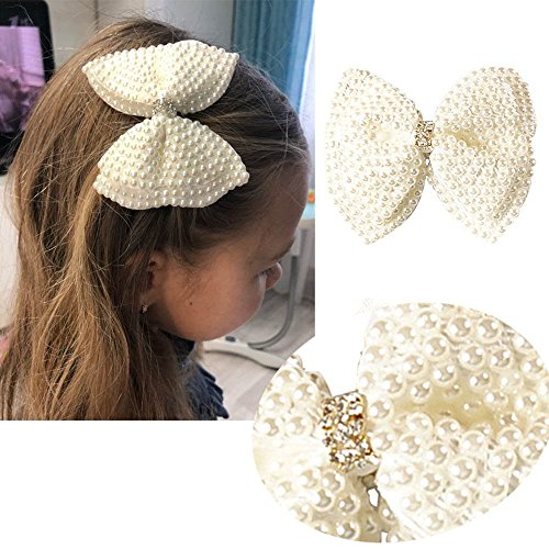 2 Pack 3.5inch White Rhinestone Hair Bows for Girls Cute Pearls Hair Bow With Alligator Hair Clips Beads Hairgrip For Kids Toddlers Teens Children