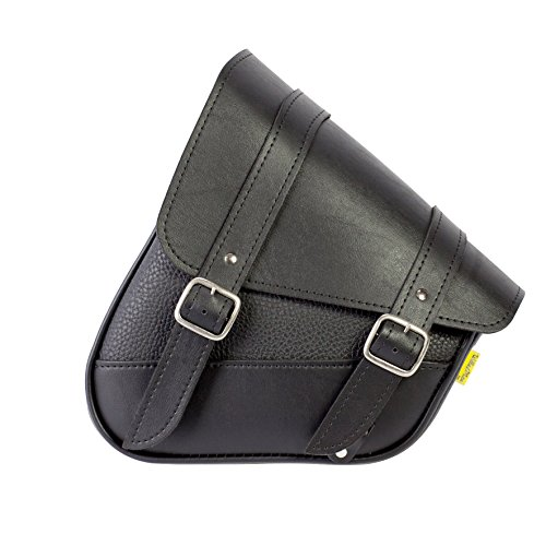 Dowco Willie & Max 59776-00 Triangulated Synthetic Leather Motorcycle Swingarm Bag: Black, 9 Liter Capacity ()