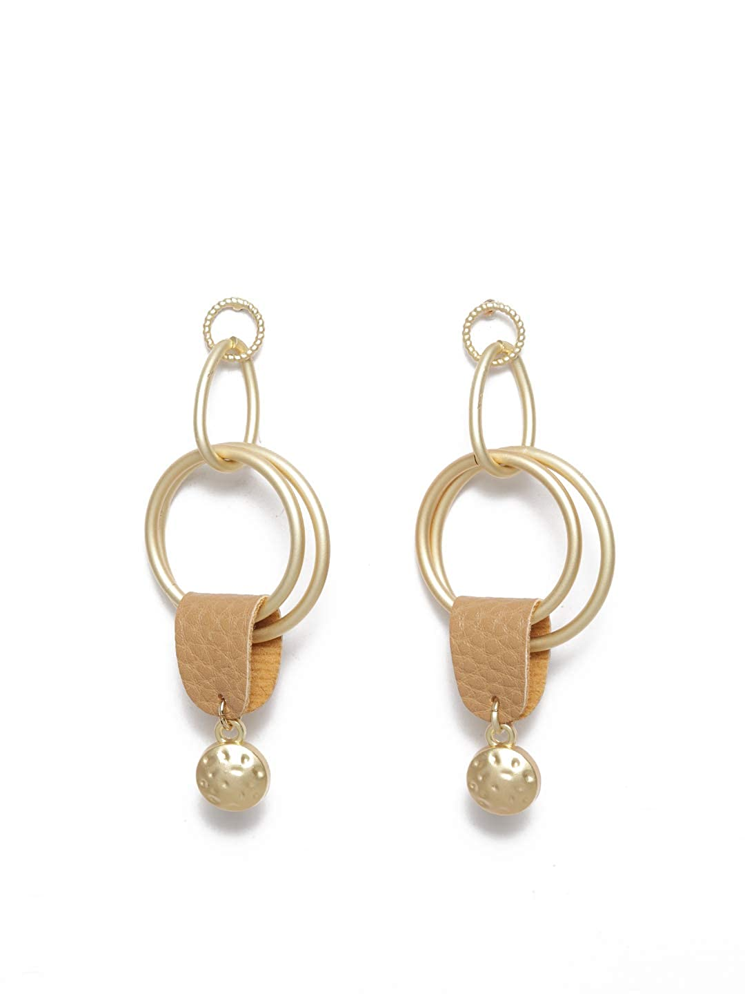 Diva Walk Gold-Plated Contemporary Drop Earrings-Onesize-Gold