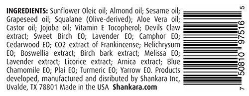 Shankara Muscle Release Oil, Natural Pain Management with Essential Oils, Treat Arthritis and Chronic Pain with Arnica, Boswelia & Sweet Birch, 10ml