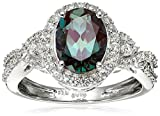Sterling Silver Oval Created Alexandrite and Round Created White Sapphire Ring