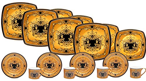 Euro Porcelain Deluxe 16-pc Tea Coffee Cup Dinner Set, 24 kt Gold Plated Greek Key Medusa Ornament, Service for 4 Luxury Bone China Tableware (Yellow) ()