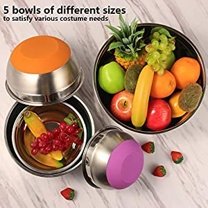 Stainless Steel Mixing Bowls (Set of 5), Non Slip Colorful Silicone Bottom Nesting Storage Bowls by Regiller, Polished…