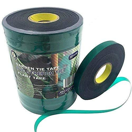 Ugold Stretch Tie Tape Plant Ribbon Garden Green Vinyl Stake - 0.48'' x 150 Ft x 12 - Vinyl Tie Stretch