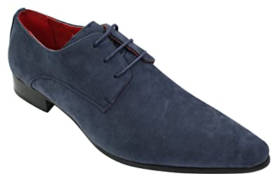 Rossellini Herren Schuhe Suede Leder Blauen Italienische