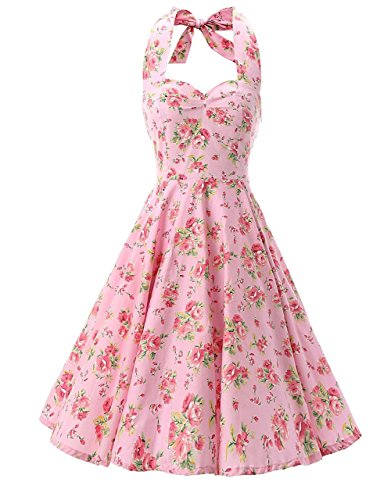 Ensnovo Womens 1950s Halter Floral Spring Garden Party Picnic Dress Pink, L