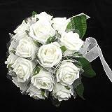 Bouquet da sposa avorio legato a mano con rose di schiuma, rete e perle - 16 fiori grandi