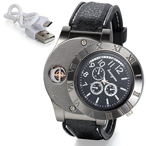 JewelryWe Fathers Day Gift Cigarette Lighter Watch USB Charging Mens Novelty Quartz Wrist (Black Cigarette Money Case)