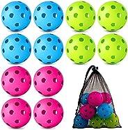 12 Pack Baseball Practice Baseballs Plastic Hollow Airflow Soft Balls with a Drawstring Bag for Hitting, Baseb
