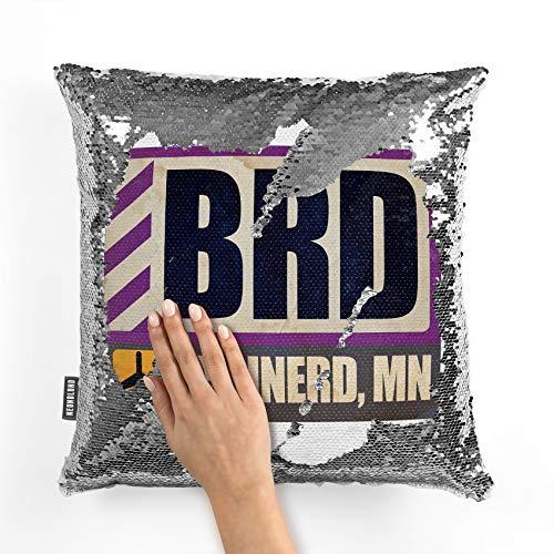NEONBLOND Mermaid Pillow Cover Airportcode BRD Brainerd, MN Reversible Sequin ()