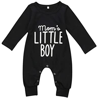 b19d22fed Amazon.com: Pudcoco Newborn Infant Baby Boys Long Sleeve Mom's Little Boy  Letters Print Romper Jumpsuit Outfits: Clothing