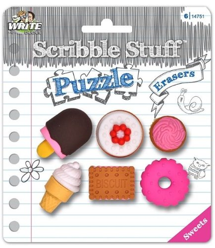 Scribble Stuff Puzzle Erasers ~ Sweets (Ice Cream, Doughnuts, Cake, Cupcakes; 6 Erasers)