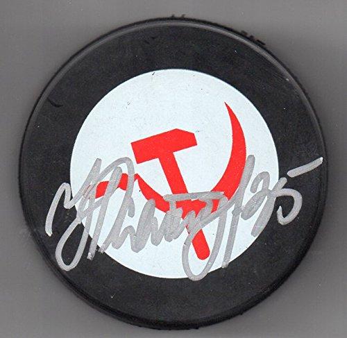 - Nikolai Khabibulin Autographed Puck Tampa Bay Lightning Team Russia