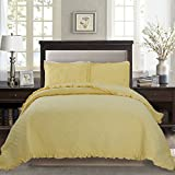 yellow quilt queen - Kasentex Pre-Washed Ultra Soft Bed Cover, Quilt Set with Shams, Solid Quilt, Red, Pink, Coffee, Cyan, Navy, Yellow, Sizes Single, Queen, King (90X90 + 20X26 + 2X2, Yellow)
