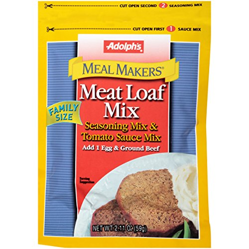 Adolph's Meal Makers Family Size Meat Loaf Seasoning Mix, 2.11 oz, Delicious Blend of Onion, Paprika, Basil, Mustard, Sage, Garlic and Black Pepper, Works Great with Ground Beef or Turkey (Pack of 6)