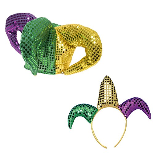 Mardi Gras Jester Headband and Sequin Hat Funny Party Hats (Sequin Sailor Costume Hat)