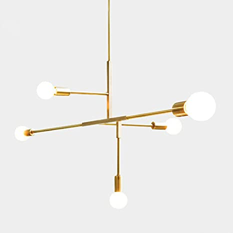 Yoka modern metal pendant lighting hanging lamp ceiling chandelier with 5 lights gold finish fixture flush
