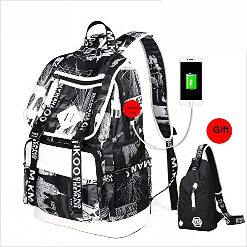 Backpack Computer Rucksack Laptop USB School white Black Oxford Daypack NYC and Port with Printing Bag B Charging Business Satchel rwzrqHI