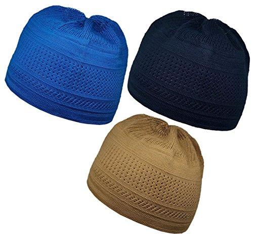 Pack 3 Color Muslim Knit Cap Amn026 Kufi Topi Islam Hat Crochet Takke Skull Beanie (Brown/Blue/Dark Blue)