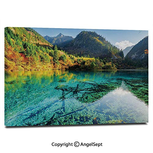 Canvas Prints Modern Art Framed Wall Mural Idyllic Mountain Creek Crystal Water Forest Pastoral Rural Landscape Wall Decorations for Living Room Bedroom Dining Room Bathroom Office,Teal Fern Green M