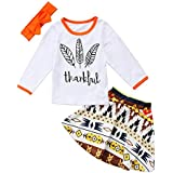 Miward Thanksgiving Outfit Newborn Baby Boy Girl Letter Print Romper Turkey Print Pant Hat Headband 4pcs Clothes Set